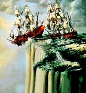 Ships sailing off flat world painting